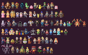 Super Smash Bros Ultimate Characters 8 Bit by LustriousCharming