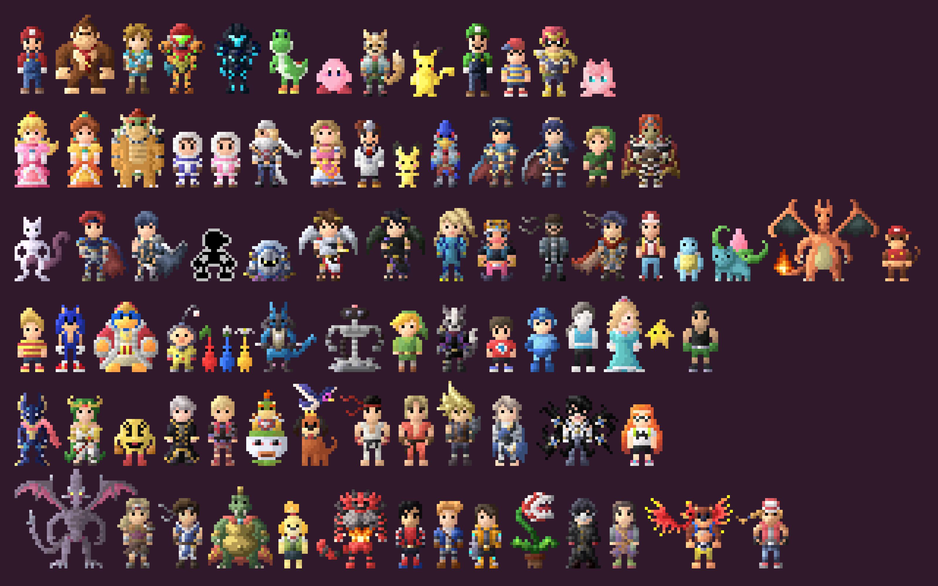 mario bros characters 8 bit