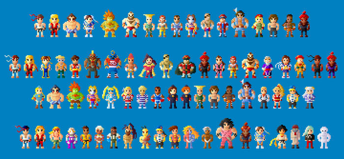 Street Fighter II, Alpha, and III Characters 8 bit