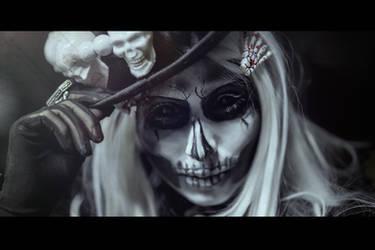 Black and White Skull Makeup by elenasamko