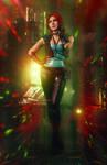 Triss Merigold in Cyberpunk 2077 cosplay