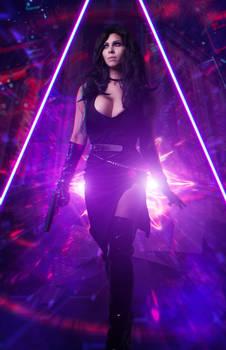 Yennefer in Cyberpunk 2077 cosplay by elenasamko