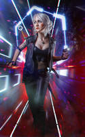 Ciri in Cyberpunk 2077 cosplay by elenasamko