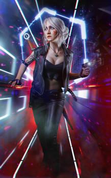 Ciri in Cyberpunk 2077 cosplay