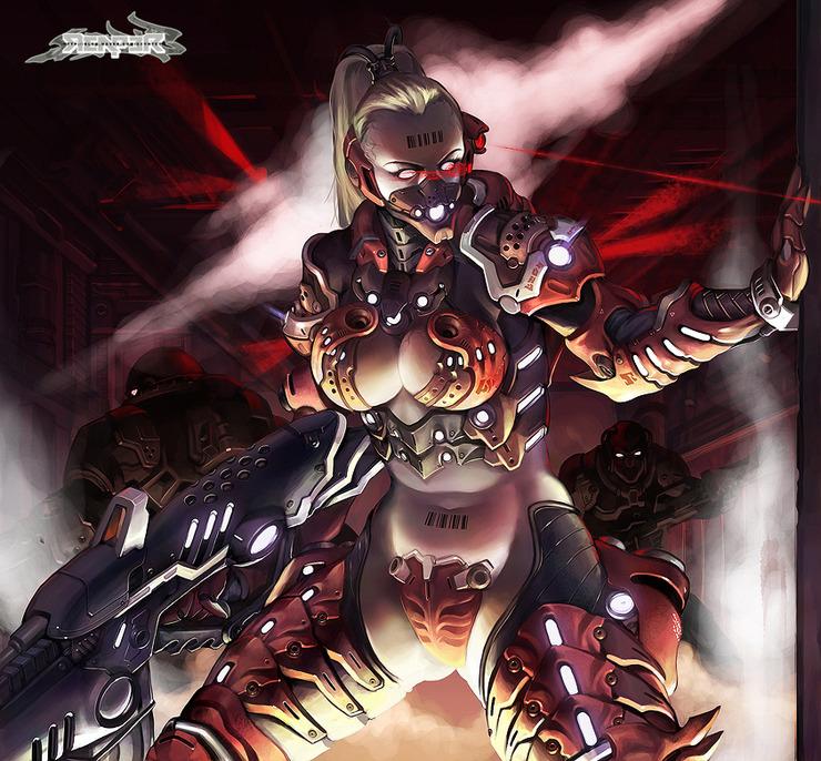 Female Cyborg Gunner by reaper78