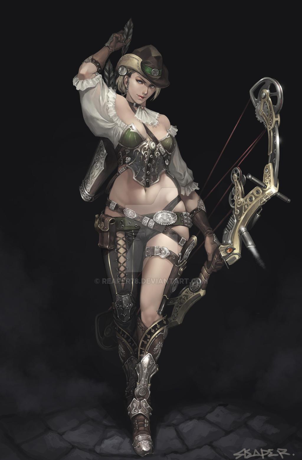 Steampunk Female Archer by reaper78
