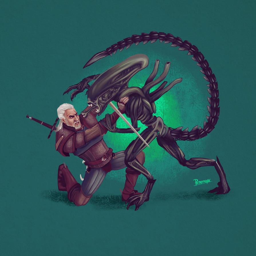 Alien vs Witcher by perhiniak
