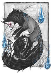 Ghost Face Kitsune - Inktober 2016 by Kindelwyrm