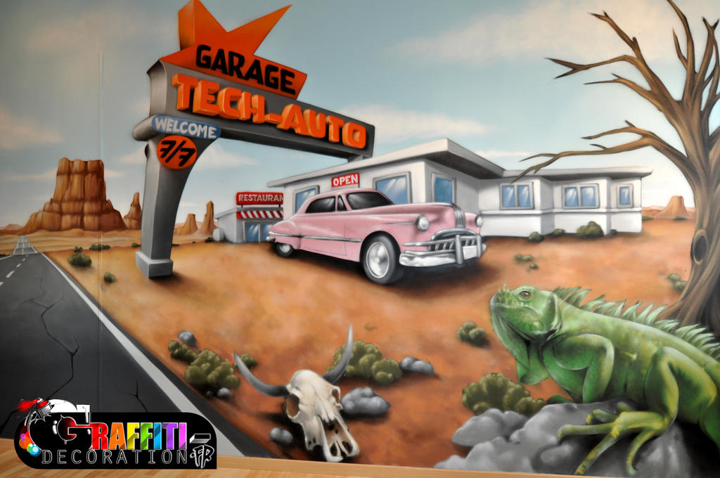 Decoration route 66 graffiti murale by graffitidecoration for Decoration murale route 66