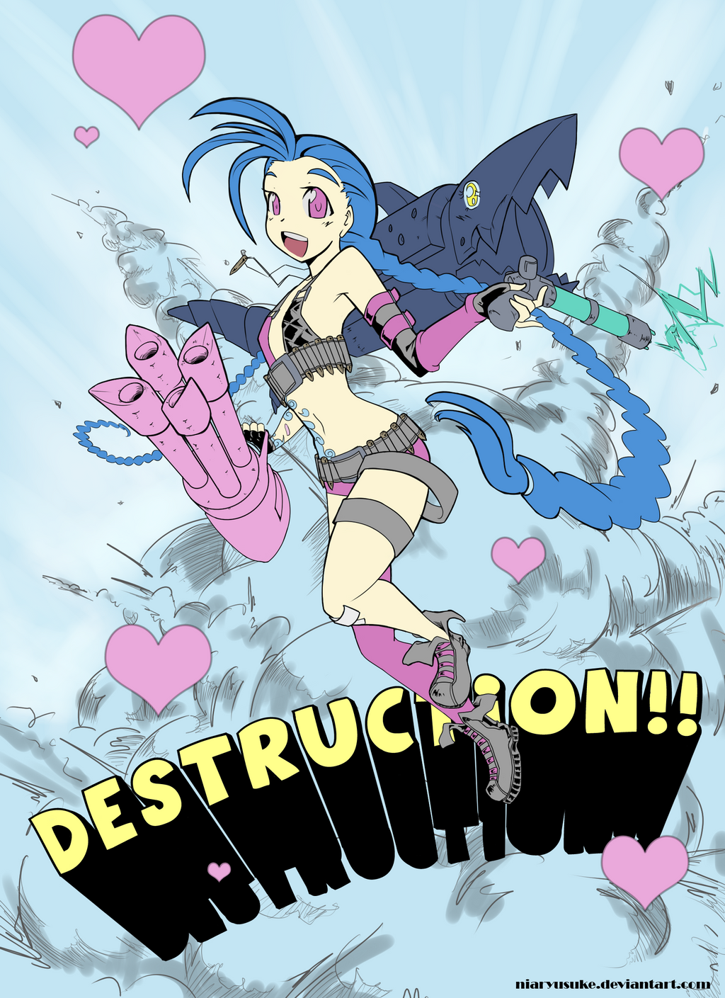 LoL- Jinx and Destruction by niaryusuke