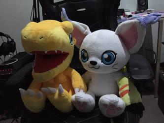 Gatomon and Agumon (Sibling Plush) by angelicoreXX