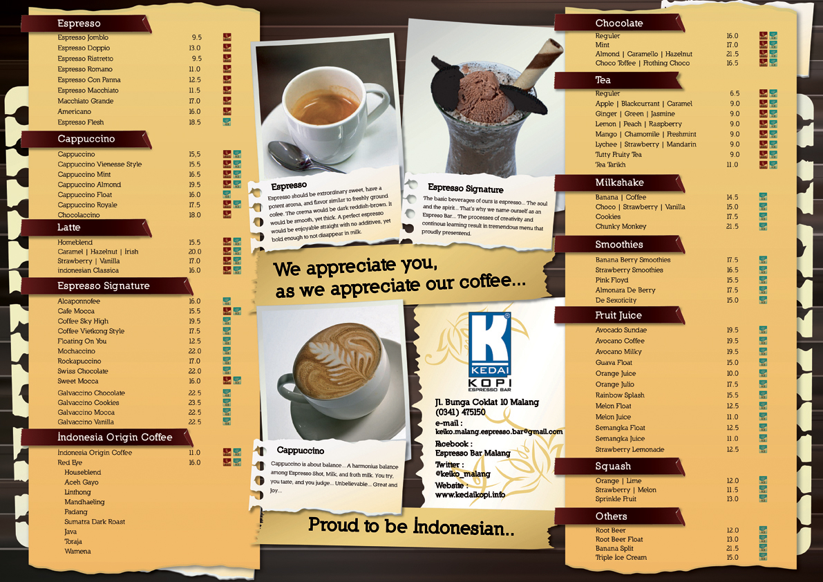 Kedai Kopi Espresso Bar Malang Menu Design Drink by rerekerenz