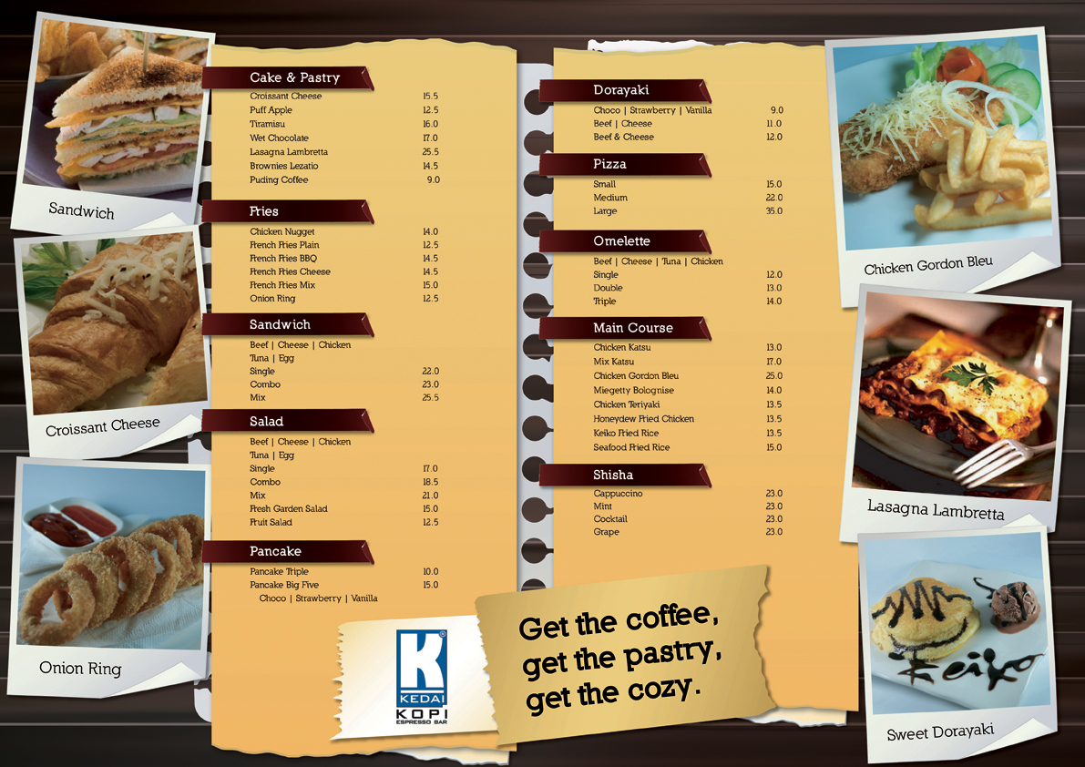 Kedai kopi espresso bar malang menu design food by for Food bar menu