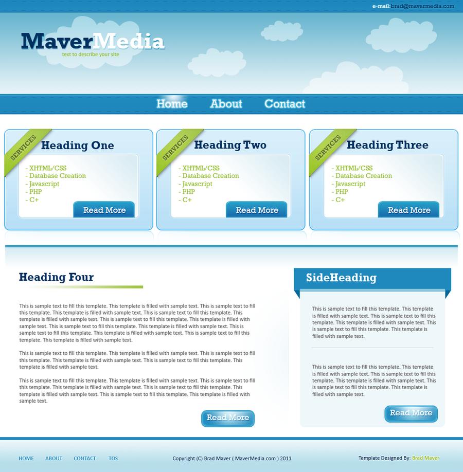 FREE 3BucketsBlue PSD Template by mavermedia
