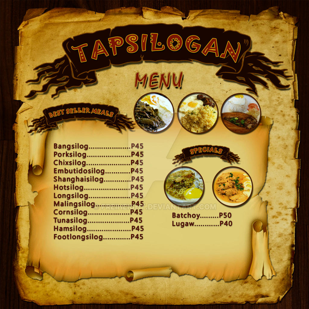 Sample food menu by freiheight on deviantart for Artistic cuisine menu