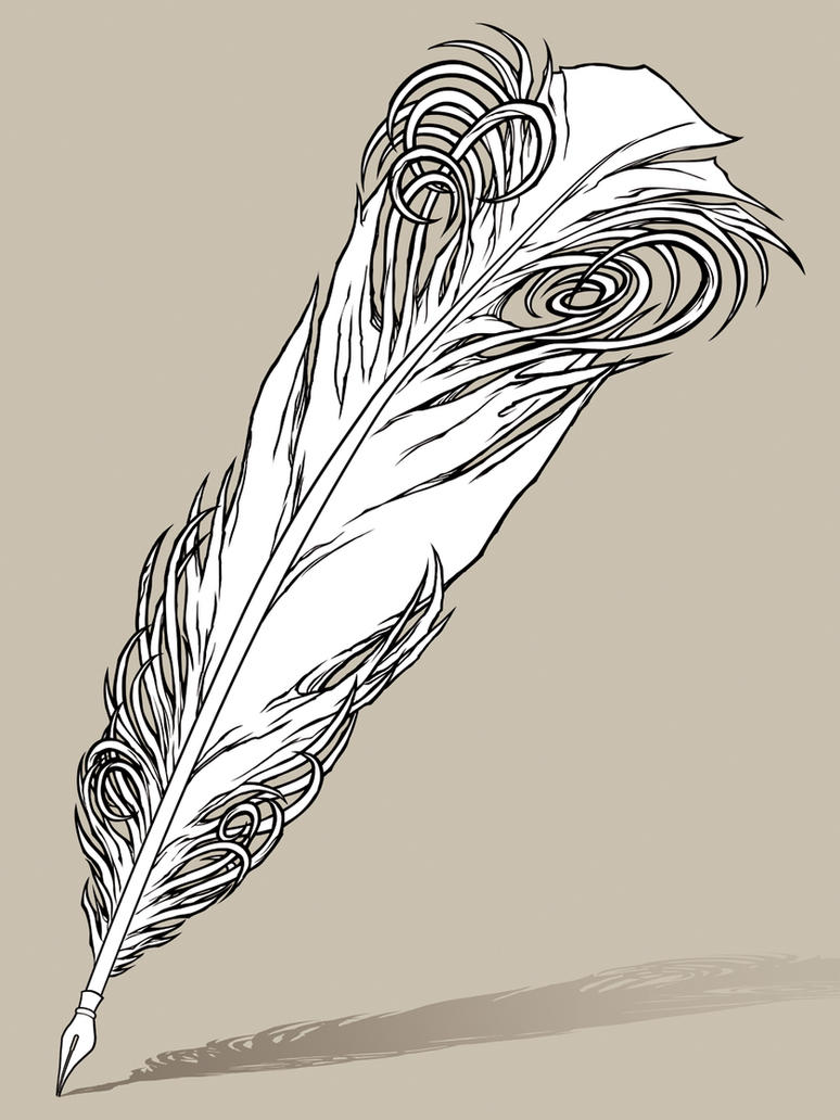 Line Drawing Of Quill : Quill pen tattoo design line work by awolfillustrations on