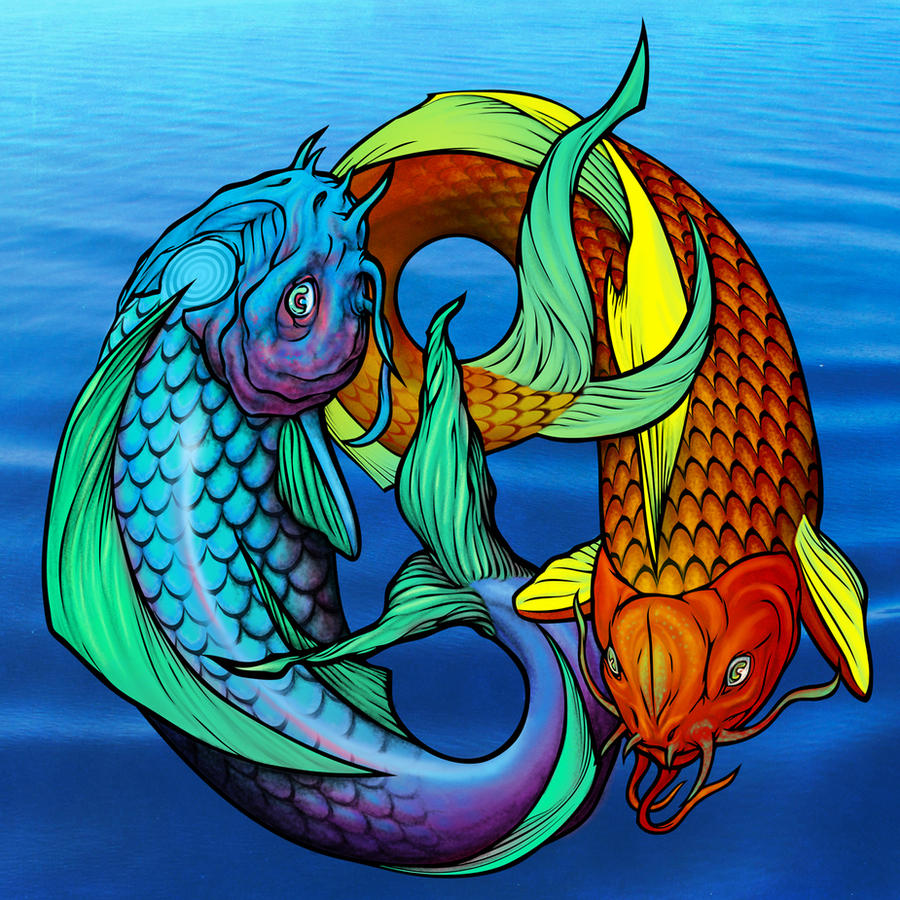 Koi Fish/Pisces/Ying Yang by awolfillustrations on DeviantArt
