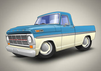 1969 Ford F100 by awolfillustrations