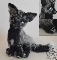 15 Inch Silver Fox Cub Needlefelt Poseable Plush by SkyLocket