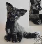 15 Inch Silver Fox Cub Needlefelt Poseable Plush