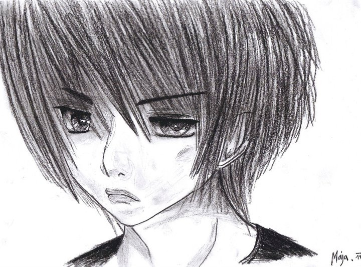 Sad anime boy by qmayaq