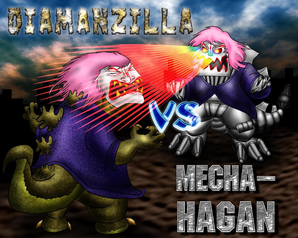 DiamanZILLA vs Mecha-HAGAN movie poster by misterprickly