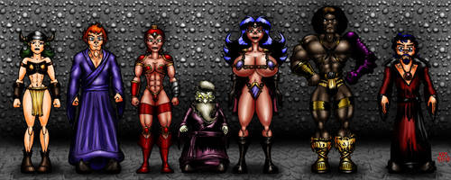 Side Quests Colour cast lineup 01 by misterprickly