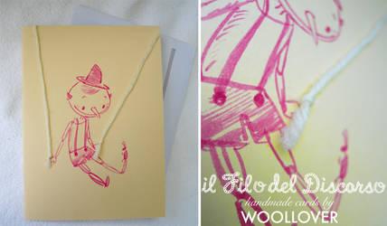 Handmade card-close up-pinocchio