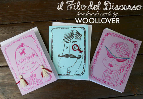 cards designed by me for WOOLLOVER, portrait set
