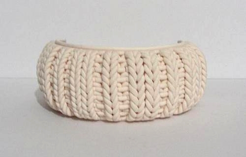 polymer clay knitted cuff by OriginalBunny