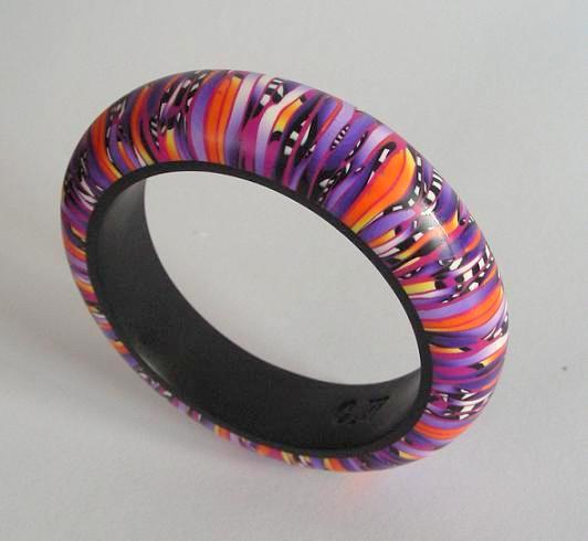 Orange and purple fimo bangle by OriginalBunny