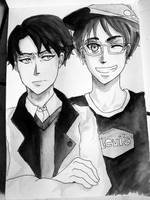 SNK Levi and Eren by JaZzCaSt