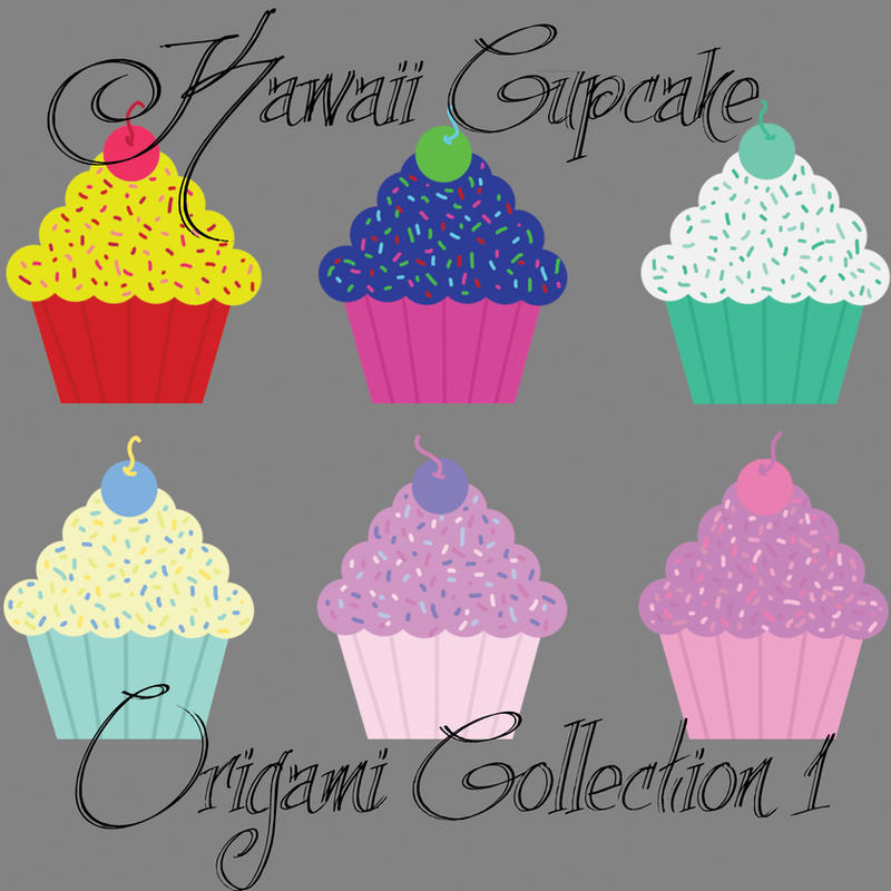 Kawaii Cupcake Digital Origami Paper Collection 1 By