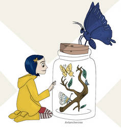 Coraline and the butterflies by AvalancheRose