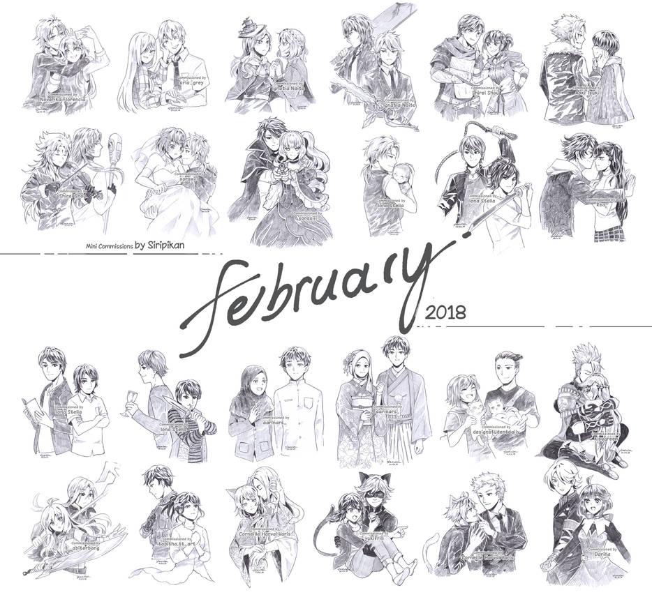 Mini commissions feb 2018 pencil sketch couple by siripikan