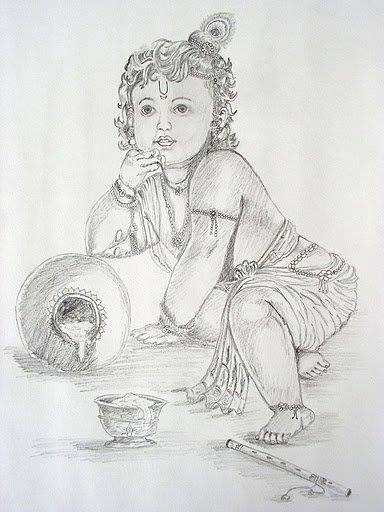 Krishna pencil sketch by sankaraarts