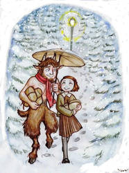 Mr. Tumnus and Lucy by Isaia