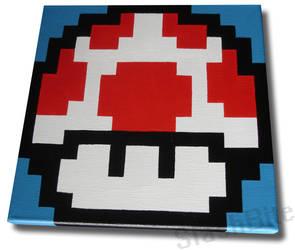 Red Mushroom Pixel Painting