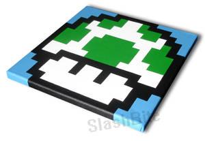 Green Mushroom Pixel Painting