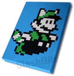 Flying Luigi Pixel Painting