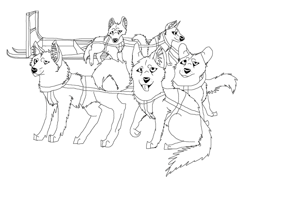 Sled Dog Team Lineart By AprilSilverWolf