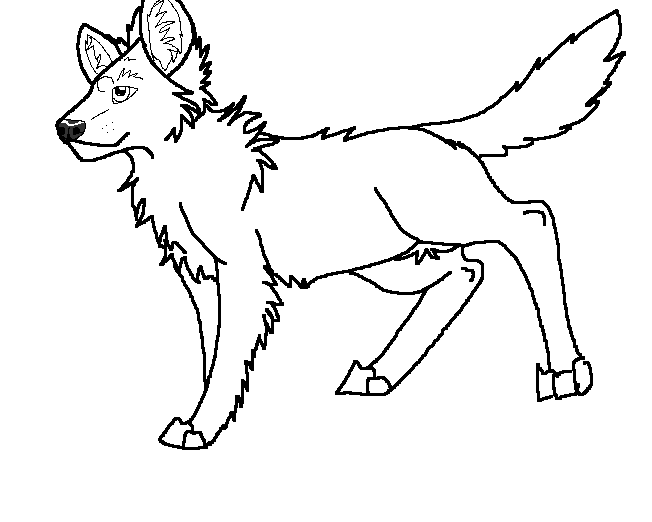 African wild dog lineart 2 by aprilsilverwolf
