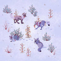 Periwinkle Wolves Wallpaper