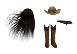 PNG long hair boots hat belt