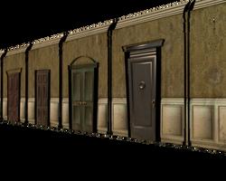 3d hallway with doors slanted