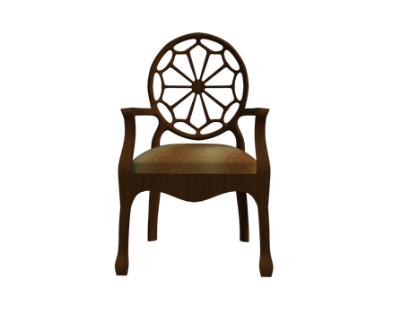cut-out 3d chair front stock