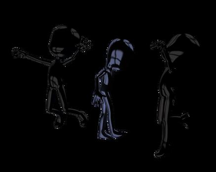 dark 3d models posing play