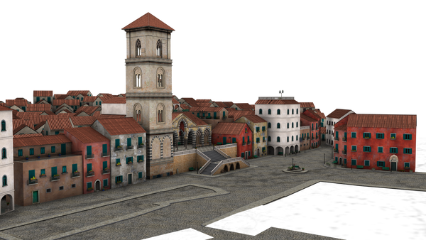 small town buildings 3d png