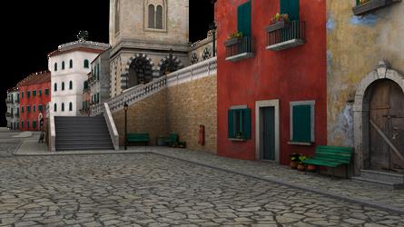 street stairway side shot town