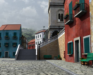 3d town close-up with stairs
